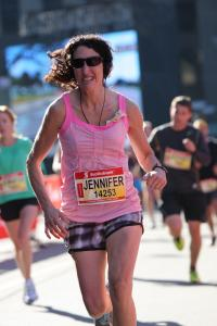 Jennifer about one km from the finish line!